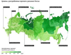 Средние зарплаты в регионах России в 2019 году